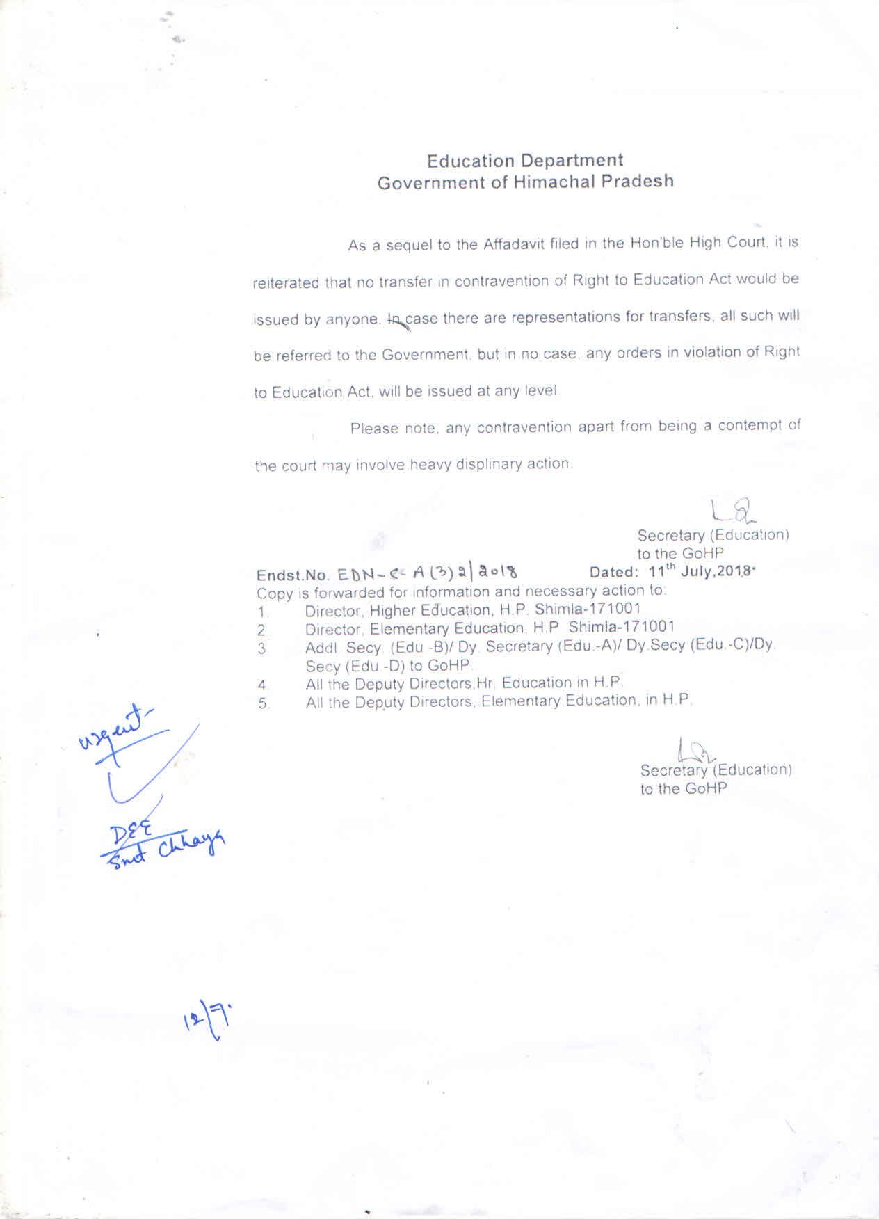 Latest Updates - Elementary Education Department, Government